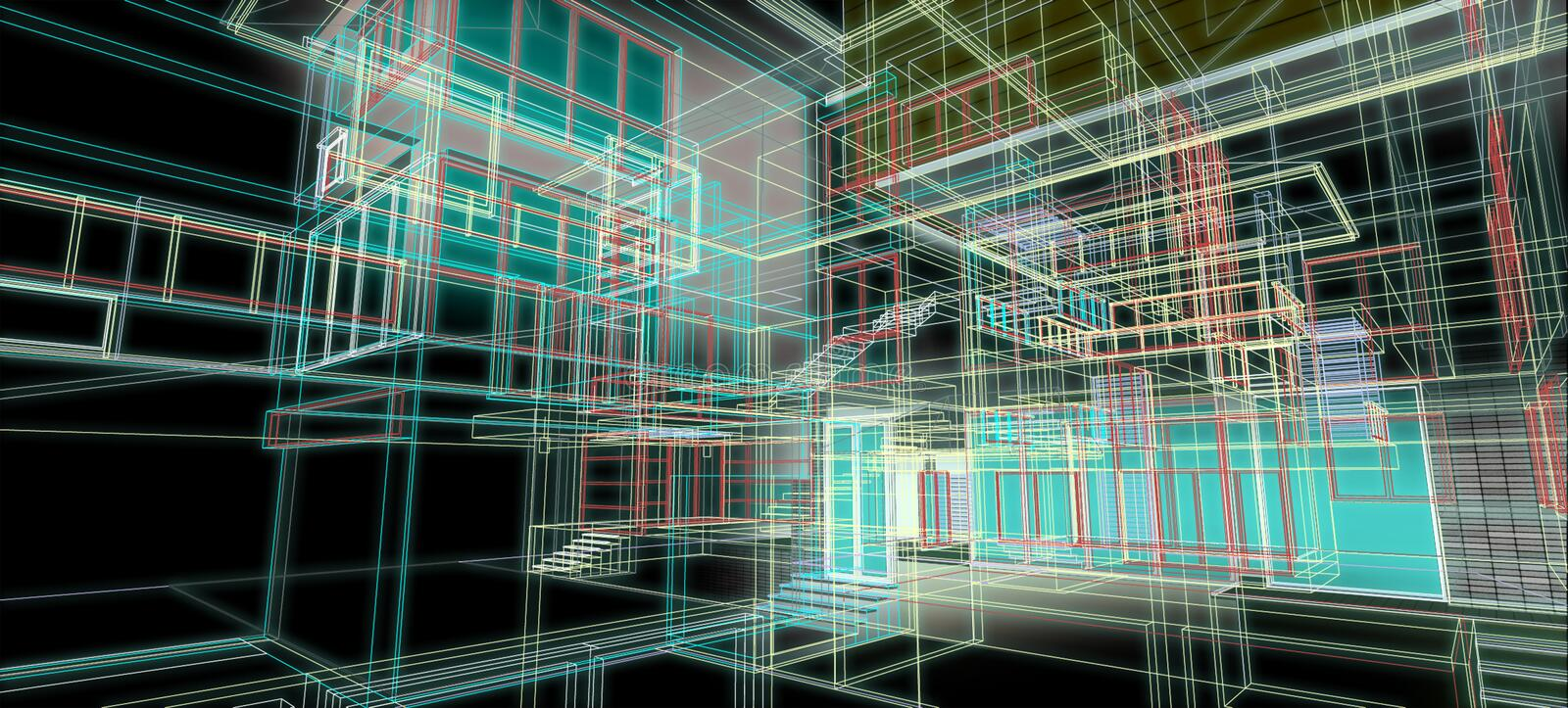 Architecture design concept 3d perspective wire frame colorful rendering with some material black background for abstract stock illustration