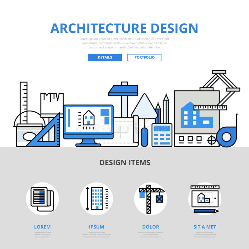 Architecture design concept flat line art vector icons. Architecture design concept flat line art vector icon. Modern website infographics illustration hero stock illustration