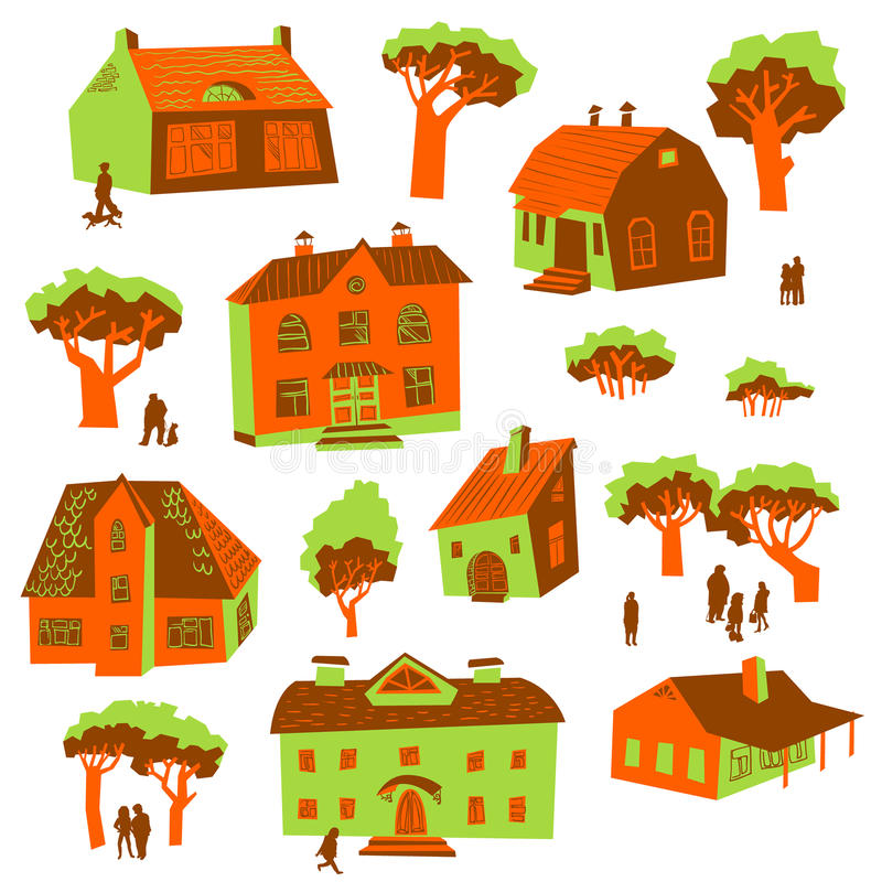 Architecture design elements. Set of cute buildings. Doodle houses with trees and people silhouettes. Simply cartoon drawing vector illustration