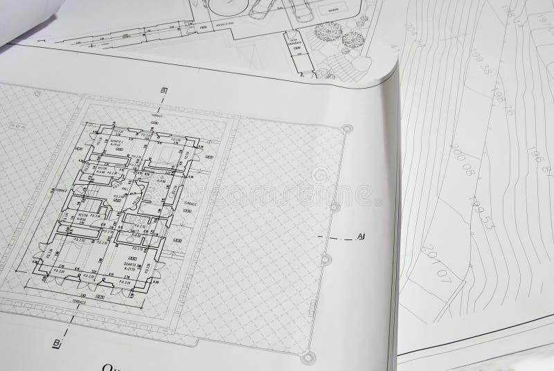 Architecture Design Plan. Close up photo of architecture design plan stock photos