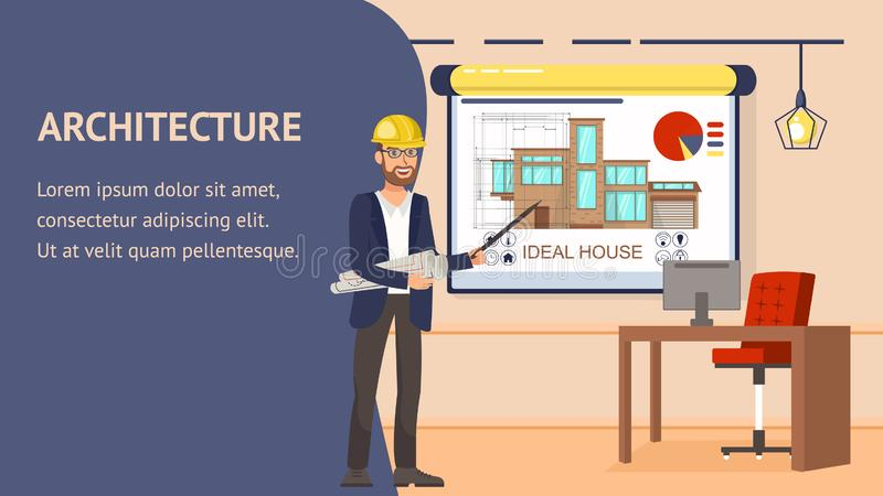 Architecture Design Website Vector Banner Template. Modern Office Work Space Apartment Interior Illustration. Cartoon Character. Flat Design, Text Space, Frame stock illustration