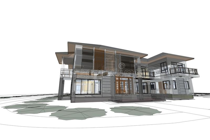 3d architecte 7x architecture dessinant l 39 illustration moderne de la maison