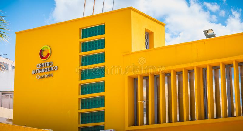 Architecture detail of the aquatic center of Quarteira, Portugal. Quarteira, Portugal - May 1, 2018: Architecture detail of the local administrative center of stock photography