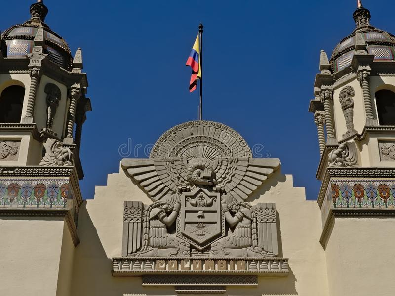 Architecture detail of the Colombian consulate in Seville royalty free stock photos