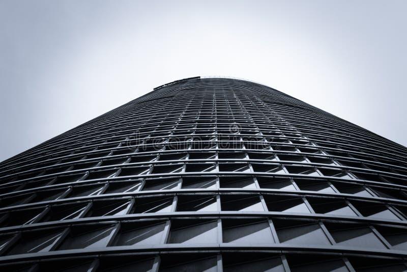 Architecture detail of Cuatro Torres Business Area (CTBA) building skyscraper, in Madrid, Spain stock photo