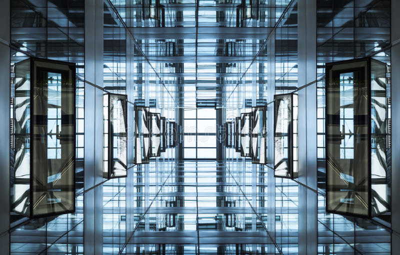 Architecture detail Modern geometric Glass Steel facade Building royalty free stock photos
