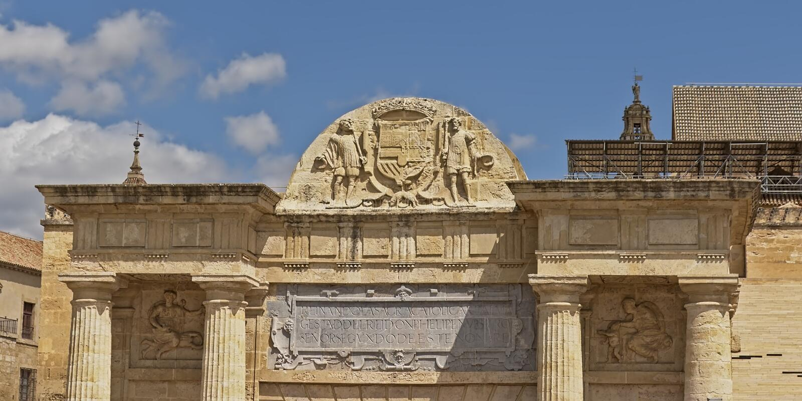 Architecture detail of the Roman gate of the bridge in Cordoba, Andalussia, pain stock photo