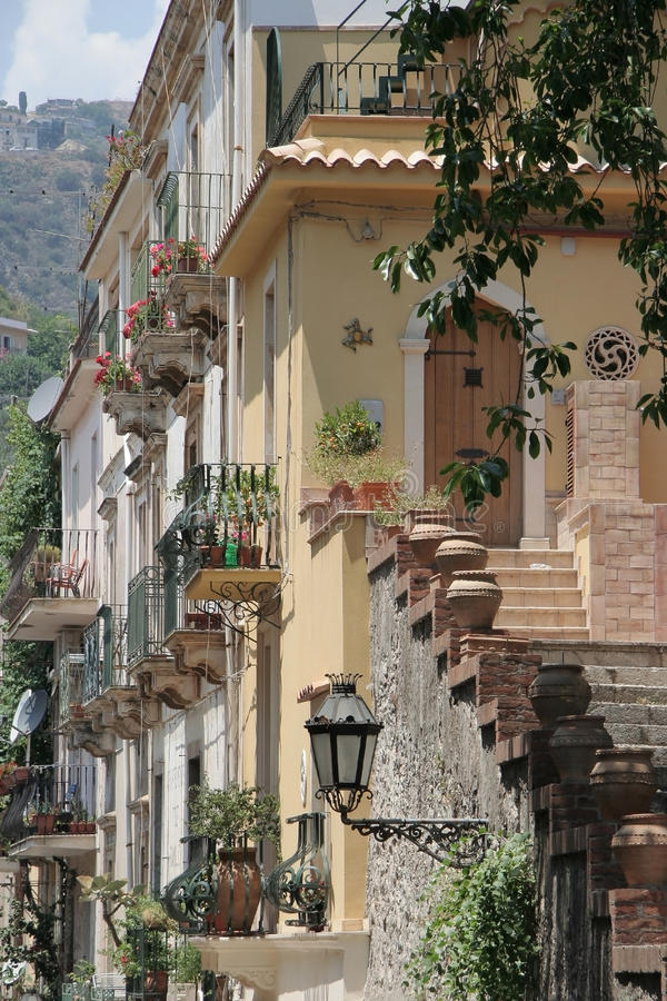 Architecture detail in Taormina, Sicily royalty free stock photos