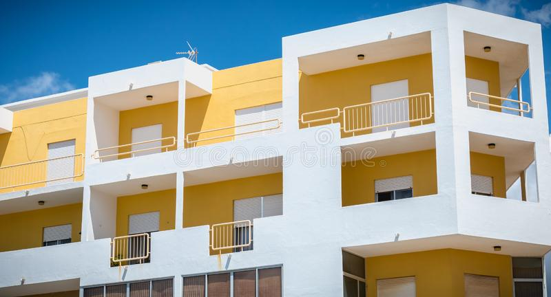 Architecture detail of a typical New Town building on quarteira, Portugal. Quarteira, Portugal - May 1, 2018: Architecture detail of a typical New Town building stock images