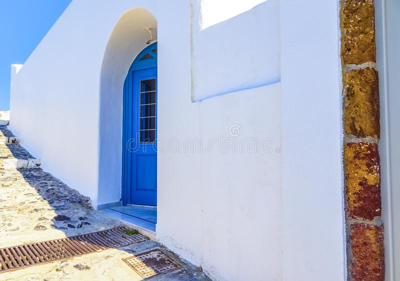 Architecture details of ancient buildings, Santorini island, Greece royalty free stock photography
