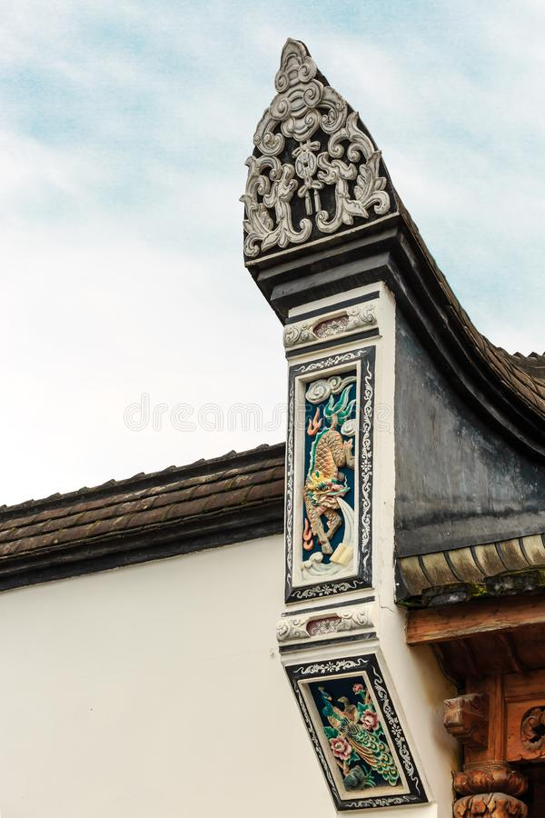 Architecture details of Chinese historic building detail view royalty free stock photos