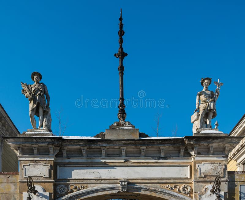 Architecture details. Fragment of Art architecture style Riga city stock photos
