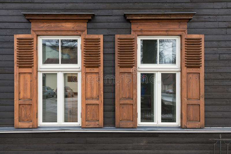 Architecture details. Fragment of Art architecture style Riga city stock photography