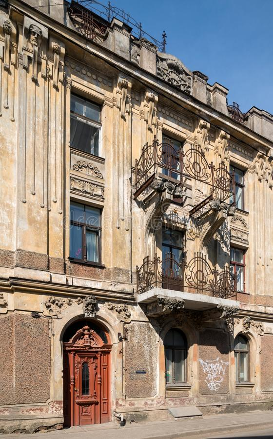Architecture details. Fragment of Art architecture style Riga city royalty free stock photography