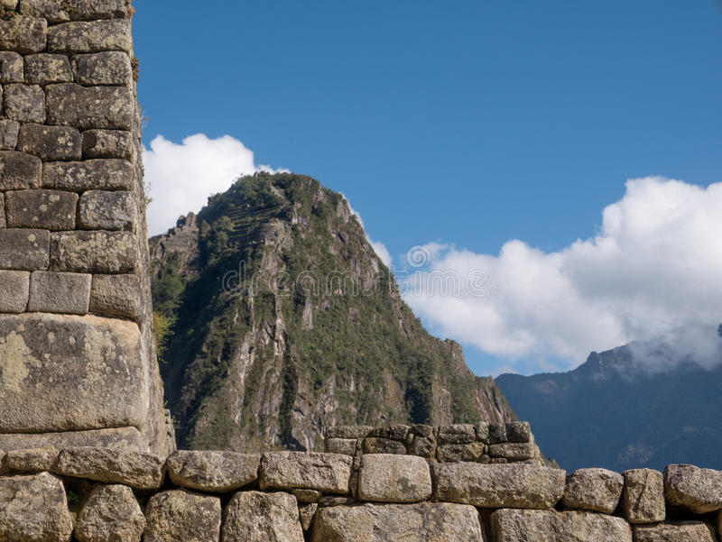Architecture details of Machu Picchu ruins royalty free stock photos