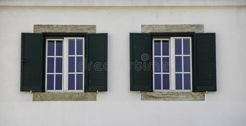 Architecture double windows in Europe stock images