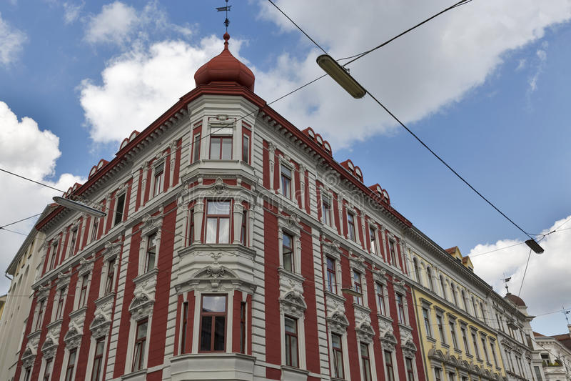 Architecture of the downtown in Graz, Austria. stock photos