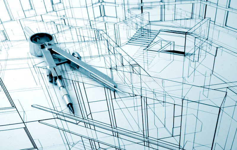 Architecture draw. Architecture blueprint and drawing compass royalty free stock images