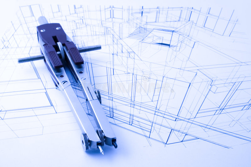 Architecture draw. Architecture blueprint and drawing compass stock image