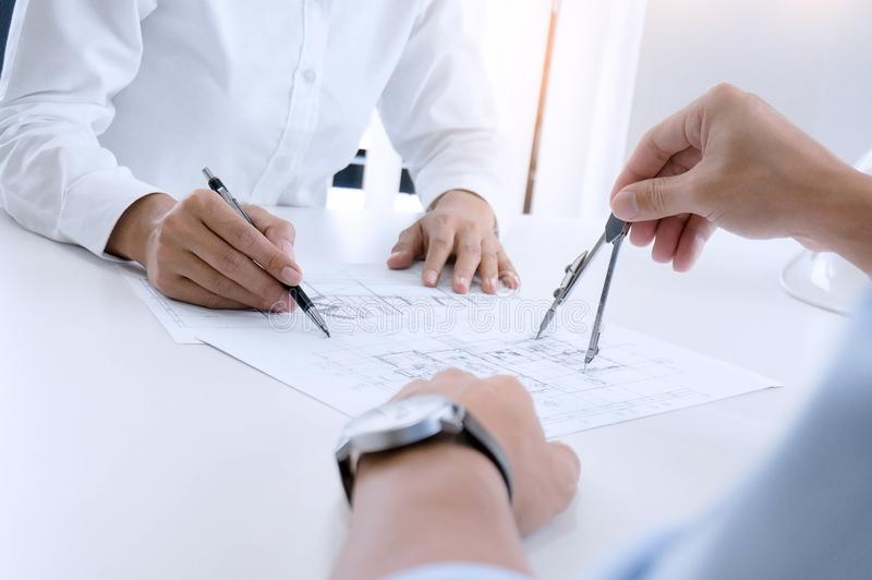Architecture drawing on architectural project, business, architecture, building, construction and people concept. Architecture drawing on architectural project stock photo