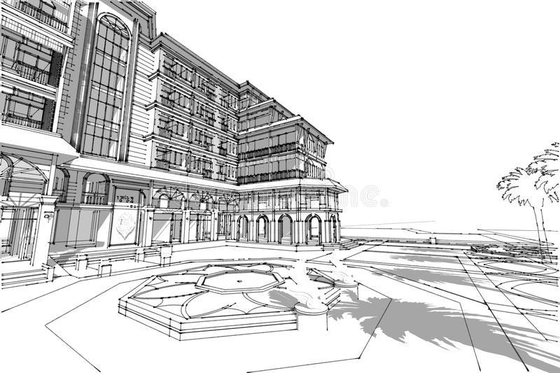 Download Architecture Drawing Hotel 3d Illustration Stock