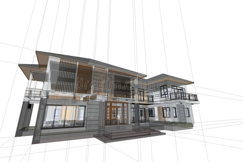 Download Architecture Drawing Modern House 3d Illustration Stock