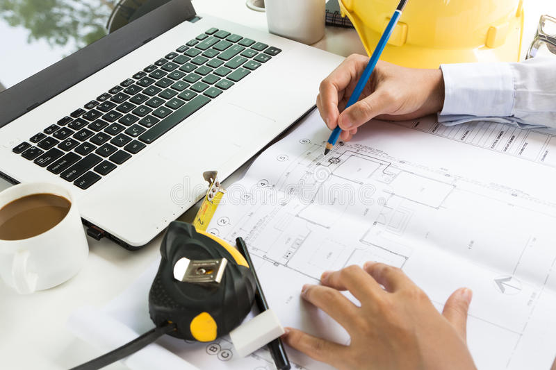 Architecture drawing on project plan royalty free stock photo