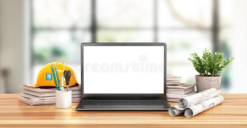 Architecture. Drawings, a helmet, books and an open notebook with a blank screen on a wooden table royalty free illustration