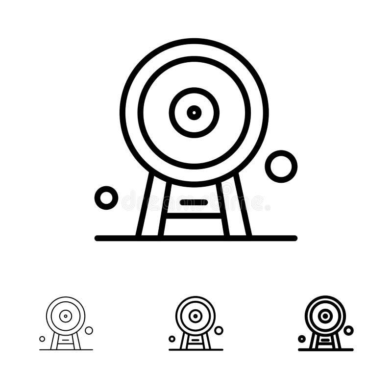 Architecture, England, Ferris Wheel, Landmark, London Eye, Bold and thin black line icon set stock illustration