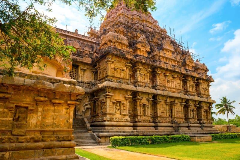 Architecture of (entrance) Hindu Temple dedicated to Shiva, ancient Gangaikonda Cholapuram Temple, India, Tamil Nadu, Thanjavur royalty free stock images