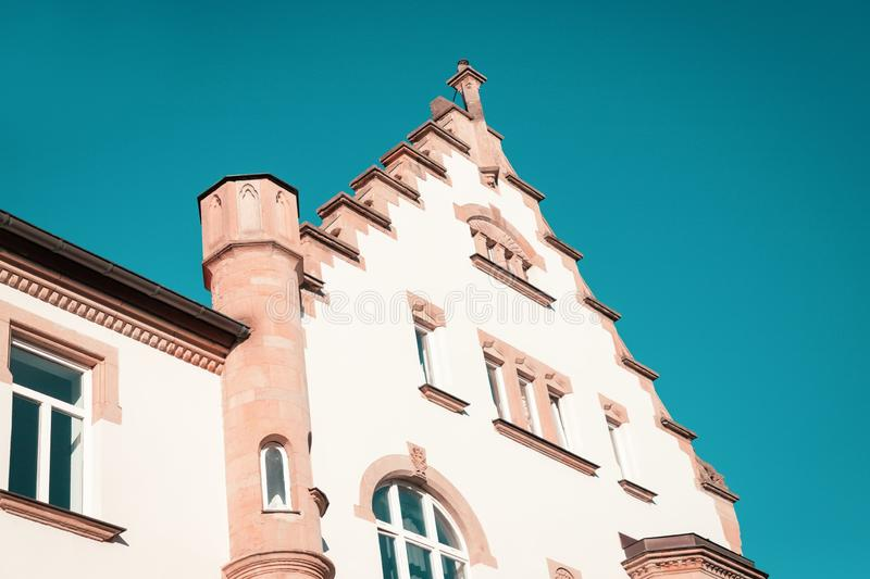 Architecture of Erfurt, Germany. Old house in the city center. Teal Aqua blue watercolor sky. Background stock photo