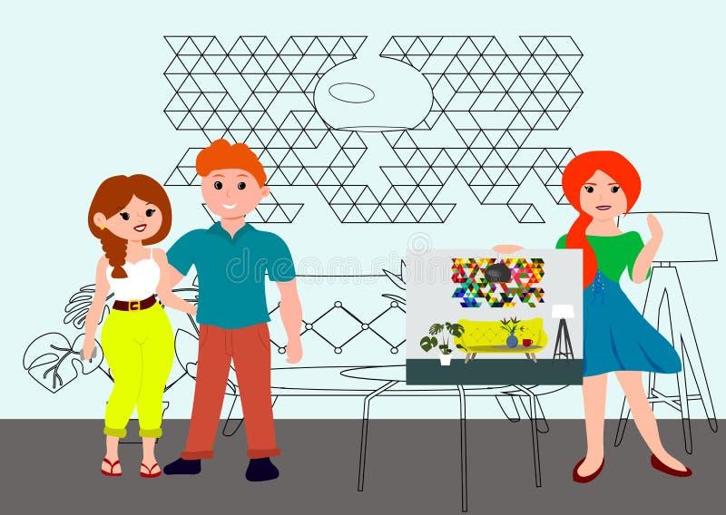 Architecture et concept de construction intérieure avec l'architecte de concepteur de femmes et les jeunes couples Le dessinateur illustration stock