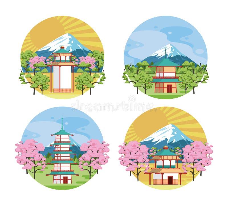 Architecture et ?l?ments japonais illustration de vecteur