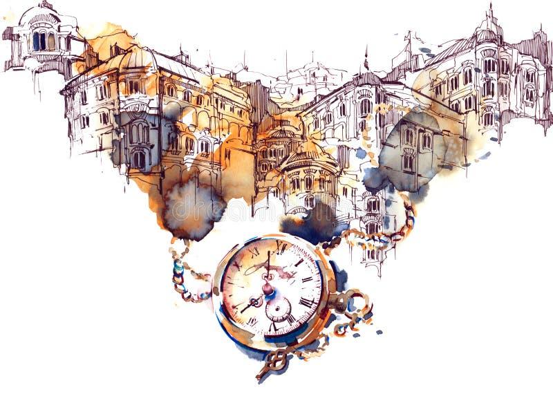 Architecture et temps illustration stock