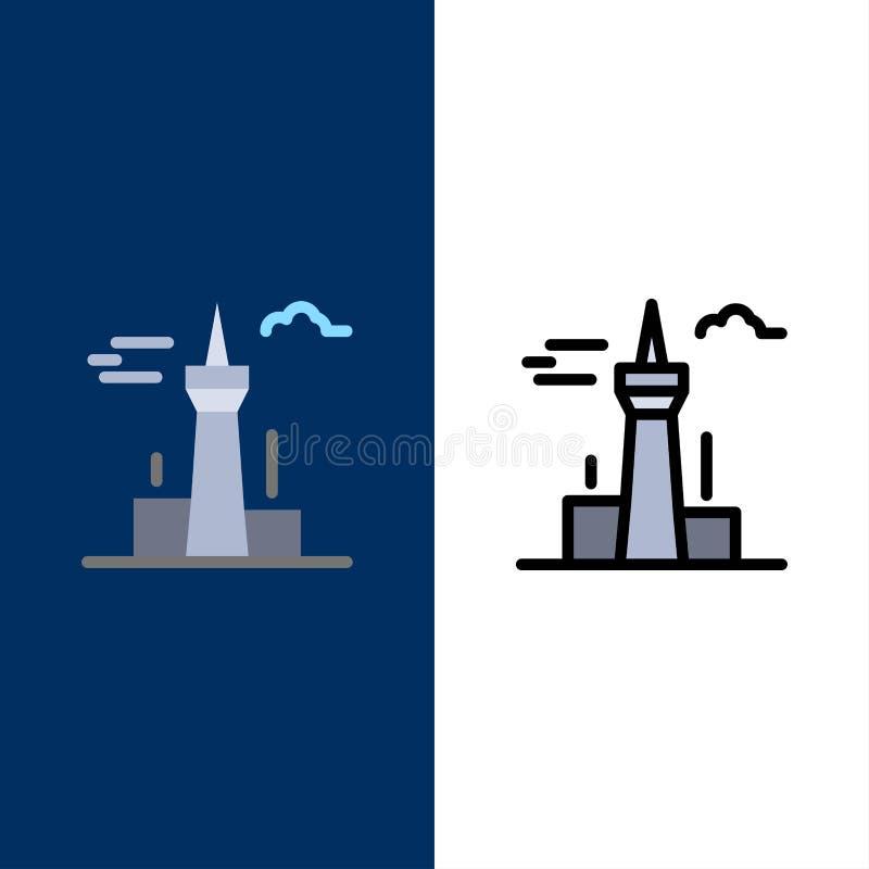 Architecture et ville, bâtiments, Canada, tour, icônes de point de repère L'appartement et la ligne icône remplie ont placé le fo illustration stock