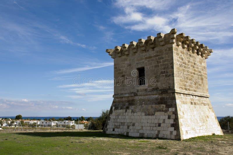 Architecture extérieure d'une tour vénitienne antique en Chypre photos stock