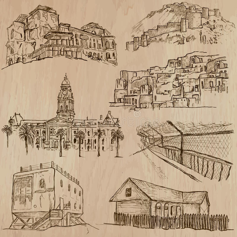 Architecture, Famous places - Hand drawn vectors royalty free illustration