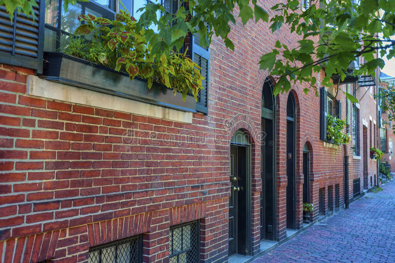 Architecture Federal Style Beacon Hill Boston Massachusetts. Boston, Massachusetts, USA - September 12, 2016: Brick federal style architecture line the narrow stock photography