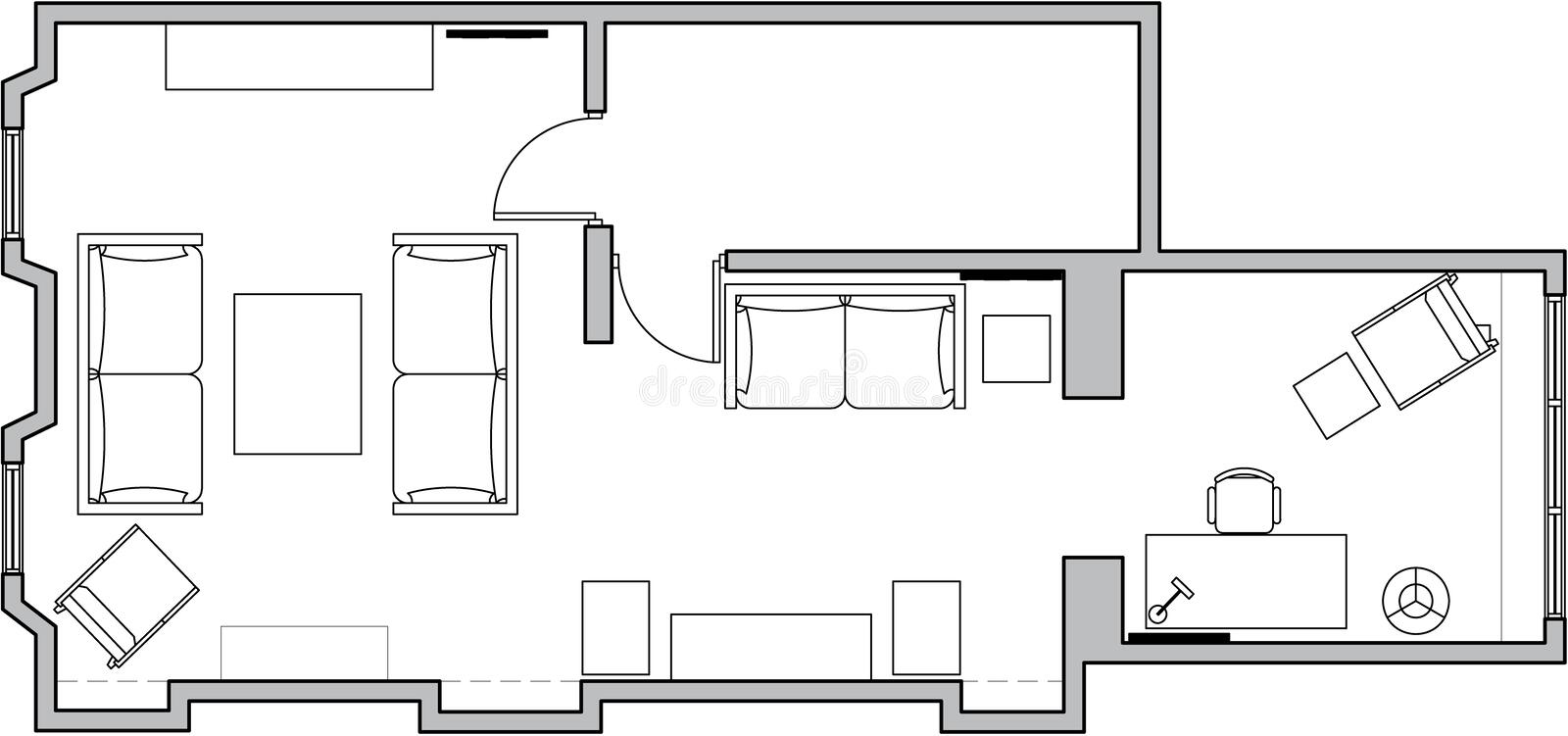 Architecture floor plan vector illustration
