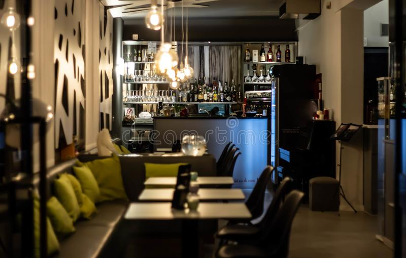 Architecture and furnishings, a beautiful interior design work for a bar used as a Jesolo bar.  stock photo