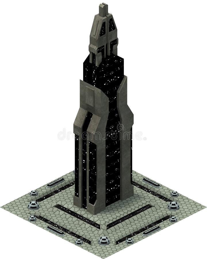 Architecture futuriste isométrique de la science fiction, future tour rendu 3d photographie stock