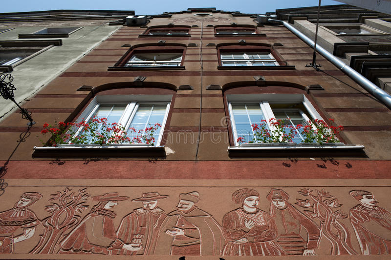 Architecture in Gdansk. Nice example architecture in Old Town district, Gdansk. Frog perspective stock photos