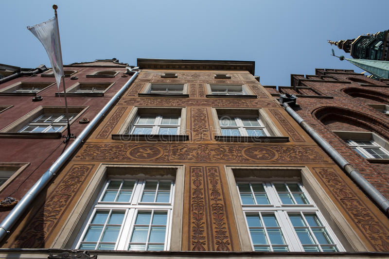 Architecture in Gdansk. Nice example architecture in Old Town district, Gdansk. Frog perspective stock photography