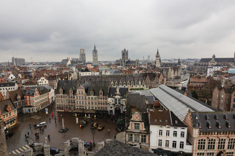 Architecture of Ghent town in rainy day royalty free stock photos