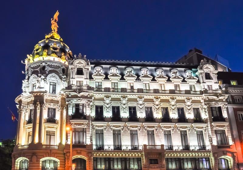 Architecture of Gran Via street at night, Madrid, Spain royalty free stock photo