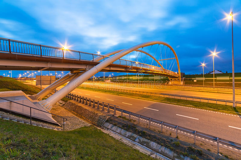 Architecture of highway viaduct at night