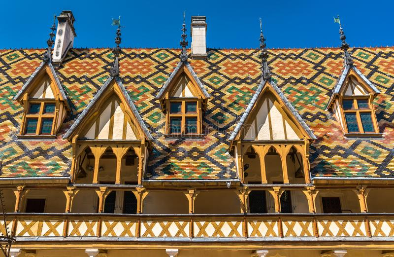 Architecture of the historic Hospices of Beaune, France. Architecture of the historic Hospices of Beaune in Burgundy, France stock photo