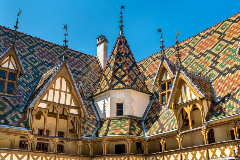 Architecture of the historic Hospices of Beaune, France. Architecture of the historic Hospices of Beaune in Burgundy, France royalty free stock photos