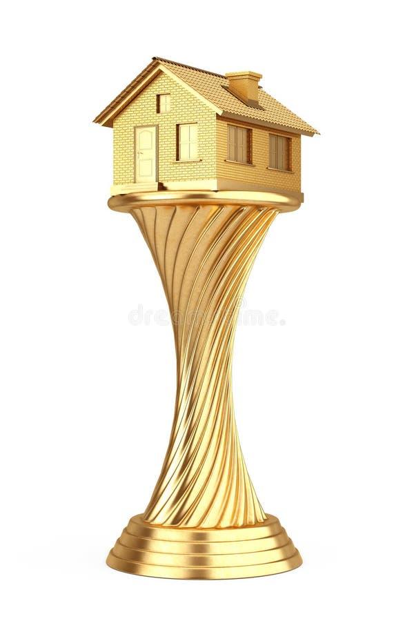 Architecture House Award Concept. Golden Award Trophy House. 3d Rendering stock illustration