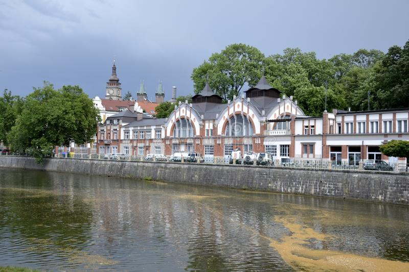 Architecture from Hradec Kralove. And cloudy sky stock image